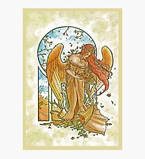 Angel of Autumn Mucha Inspired Art Nouveau Angels of the Seasons Series Photographic Print