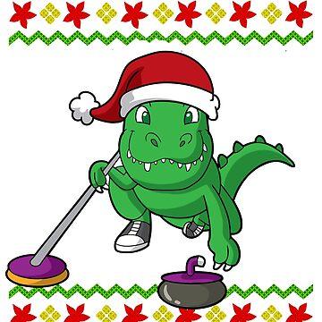 T Rex Curling Santa Snowflake Ugly Christmas by frittata