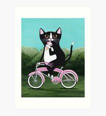 Ice Cream Bicycle Cat Art Print