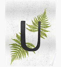 Black letter U monogram with green watercolor fern on beige background. Poster