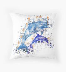 Cojín de suelo Dolphins sea life sea mammal watercolor painted