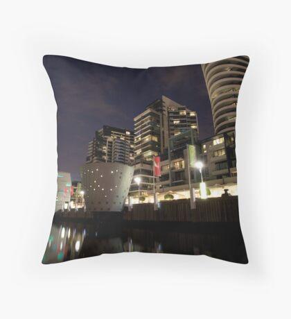 A hot night at Docklands  Throw Pillow