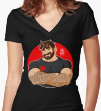 ADAM LIKES CROSSING ARMS Women's Fitted V-Neck T-Shirt
