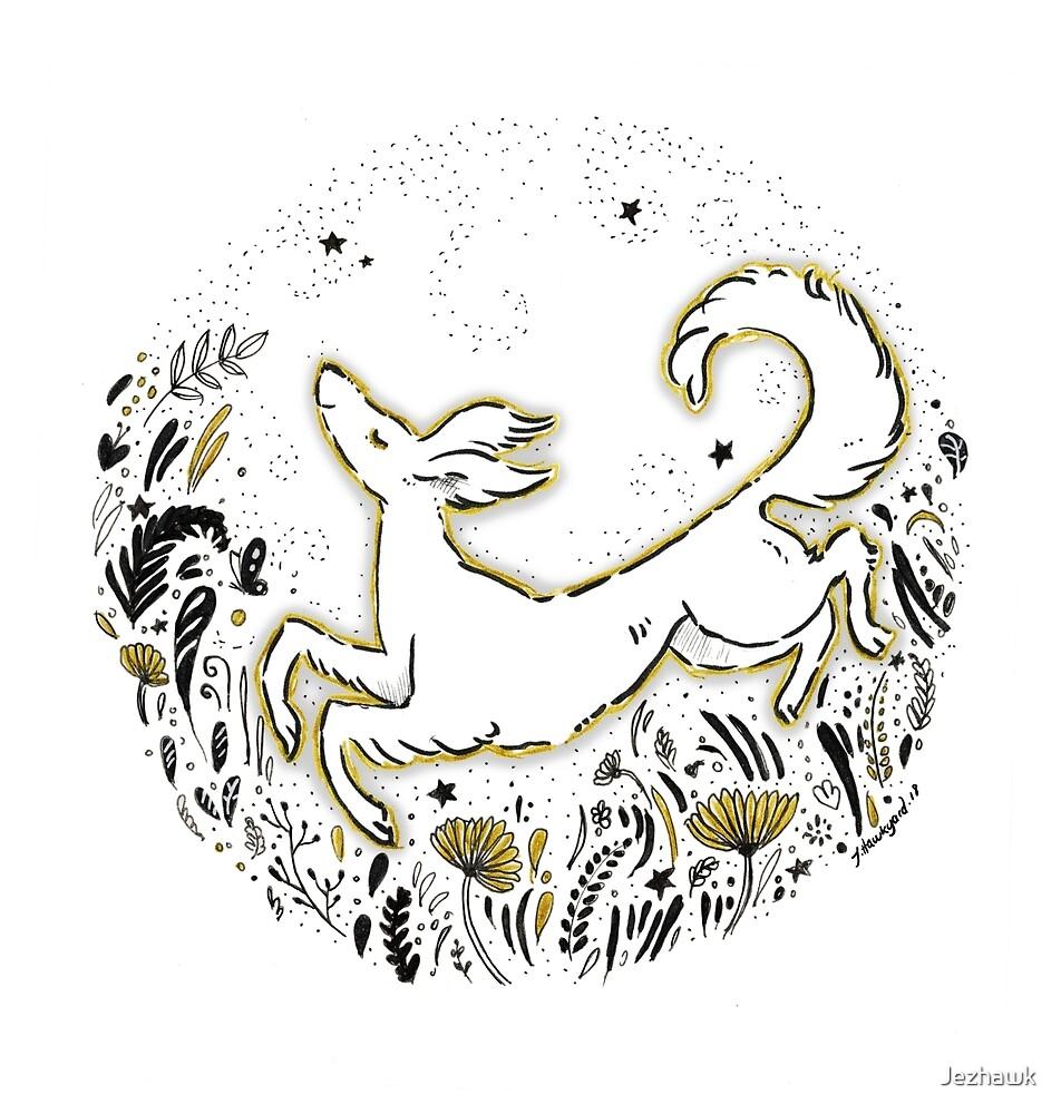 Joy - Cute and Whimsical Saluki Art by Jezhawk