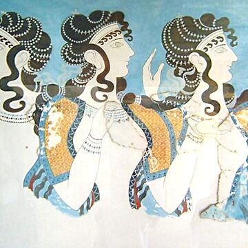 Fresco showing three women, from Knossos palace Crete by TOMSREDBUBBLE