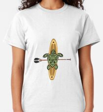Black & Green Tribal Turtle Stand-Up Wave Rider Classic T-Shirt
