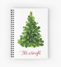 All is Bright Christmas Evergreen Tree Spiral Notebook
