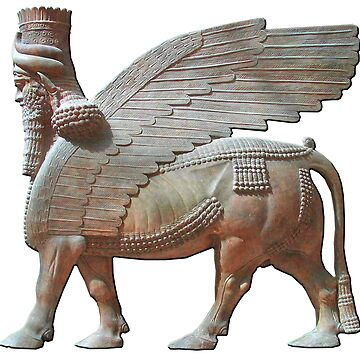 Human-headed winged bull. Assyrian Lamassu Statue. on White by TOMSREDBUBBLE
