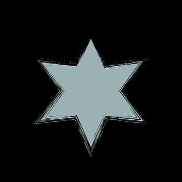 Pale Blue Stars On Black-Stencil Effect by broadmeadow