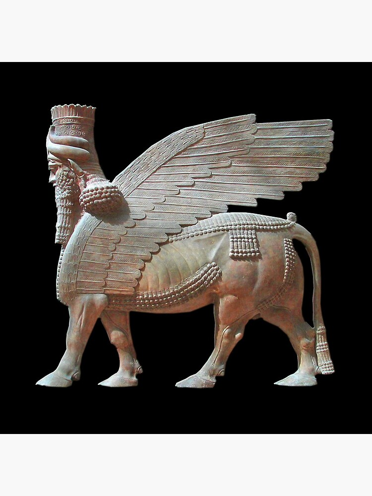 Human-headed winged bull. Assyrian Lamassu Statue. on Black. by TOMSREDBUBBLE