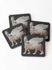 Human-headed winged bull. Assyrian Lamassu Statue. on Black. Coasters