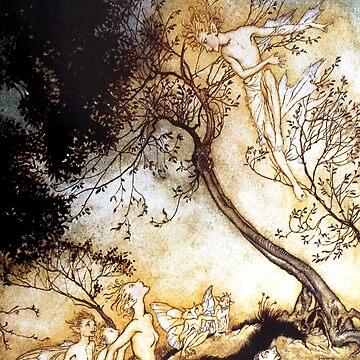 Ariel and Fairies - The Tempest - Arthur Rackham by forgottenbeauty