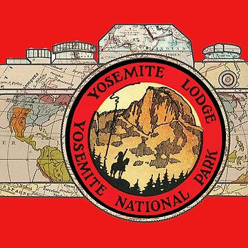 Map Camera with Yosemite Lodge Yosemite National Park Travel Decal image in the Lens by Drewaw