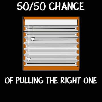 50 50 Chance of Pulling the Right One Mini Blinds Funny Window Treatment Joke by stacyanne324