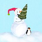 Smiling Snowman With Christmas Tree And Penguin by daphsam