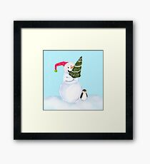 Smiling Snowman With Christmas Tree And Penguin Framed Print