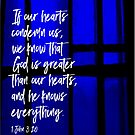 1 John 3:20 Bible Verse Cross on Blue Stained Glass by Hip2BeSquare