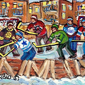 HOCKEY RINK PAINTINGS MONTREAL NEIGHBORHOODS NDG VERDUN THE PLATEAU KIDS WINTER HOCKEY ART C SPANDAU by CaroleSpandau