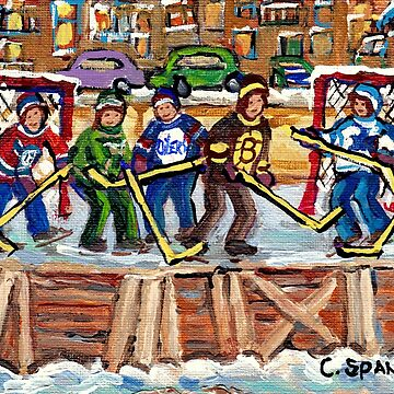 LOCAL NEIGHBORHOOD OUTDOOR RINK VERDUN MONTREAL NDG PLATEAU ROWHOUSES C SPANDAU HOCKEY ART by CaroleSpandau