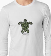 Black & Green Tribal Turtle Tattoo / Grand Cayman Long Sleeve T-Shirt
