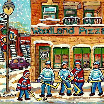 VERDUN CORNER STORE RESTAURANT PAINTING WELLINGTON STREET SCENES MONTREAL PIZZA HOCKEY ART C SPANDAU by CaroleSpandau