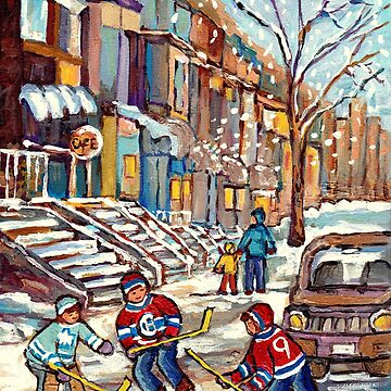 STREET HOCKEY SNOW SCENES MONTREAL FINE ART WINTER IN THE CITY PAINTING VERDUN PLATEAU PSC CAROLE SPANDAU by CaroleSpandau