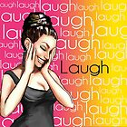 Retro Pinup Girl Laugh Typography by colormegirly