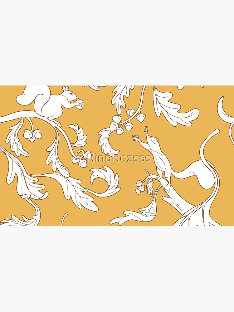 Squirrels and Acorns Ochre Pattern by RinaRozsas