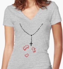 rosary love Women's Fitted V-Neck T-Shirt