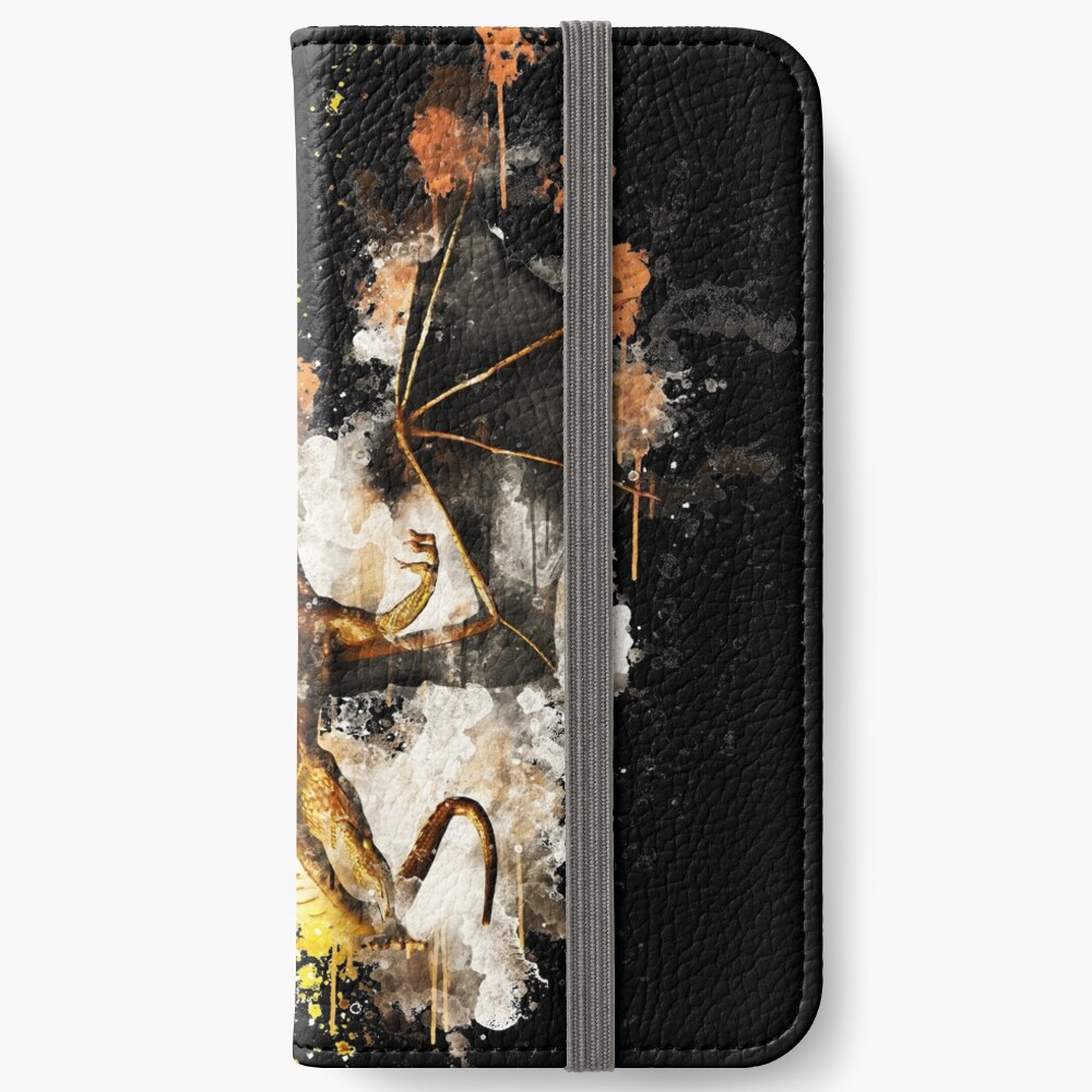 Dragon wyrm wyvern watercolor painted iPhone Flip-Case
