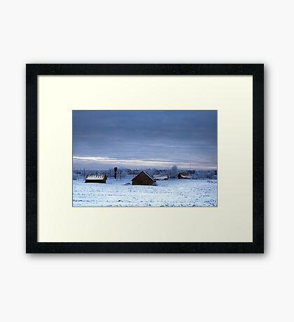 Village in winter Framed Print