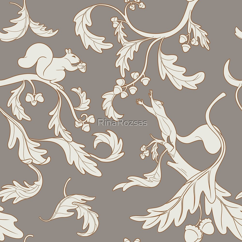 Squirrels and Acorns Taupe by RinaRozsas