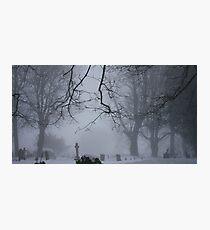 A misty churchyard Photographic Print