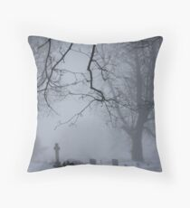 A misty churchyard Throw Pillow