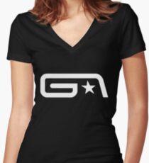 Groove Armada White Logo Women's Fitted V-Neck T-Shirt