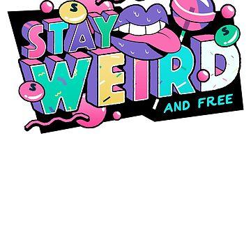 Stay Weird 80s Retro Pop Art Shirt Cool 90s Pink Lips Design by thehadgaddad