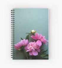 pink peony blooms on green background Spiral Notebook