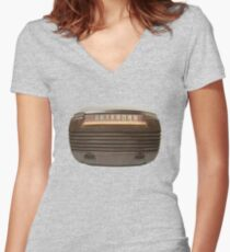 old time bubble  radio  Women's Fitted V-Neck T-Shirt