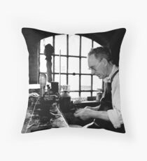 Leather Worker Throw Pillow