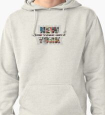 NEW YORK CITY (colour photo-filled type on B&W type background) Pullover Hoodie