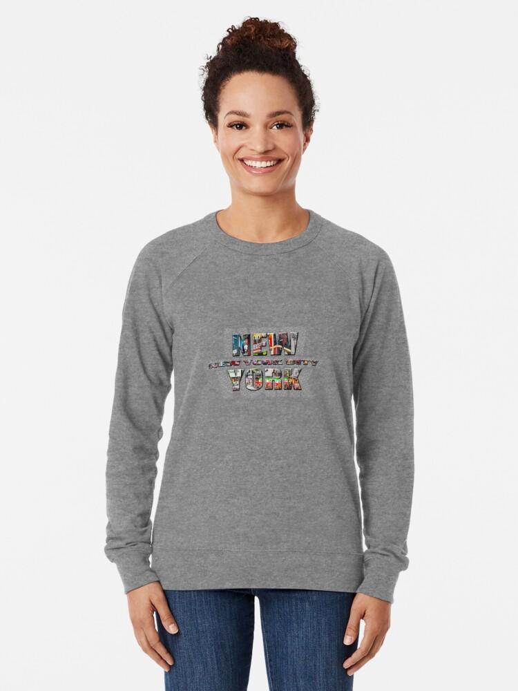 Alternate view of NEW YORK CITY (colour photo-filled type on B&W type background) Lightweight Sweatshirt