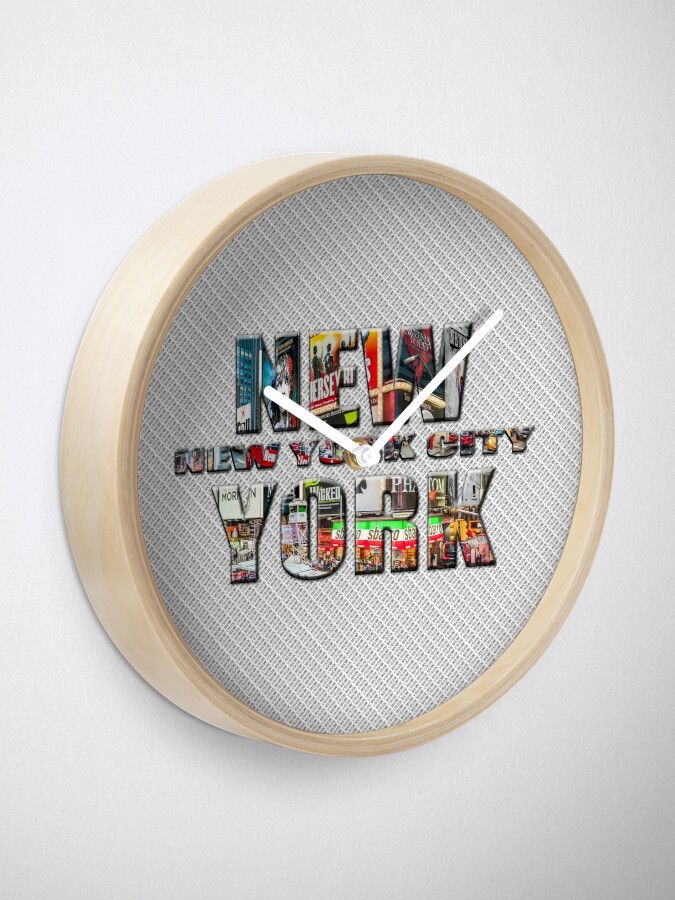 Alternate view of NEW YORK CITY (colour photo-filled type on B&W type background) Clock