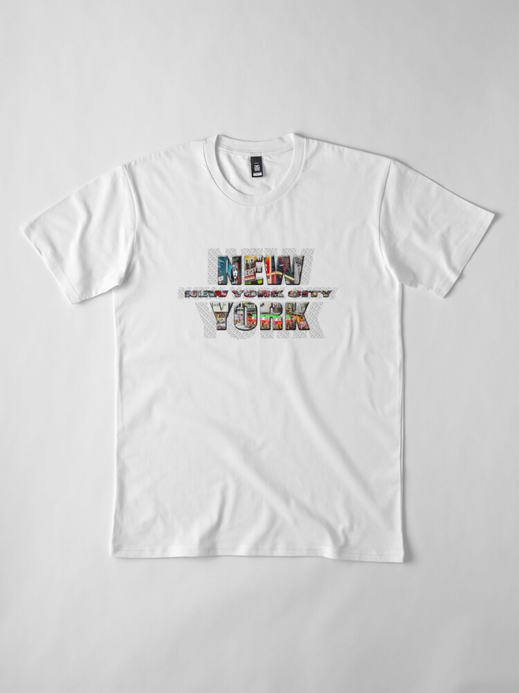 Alternate view of NEW YORK CITY (colour photo-filled type on B&W type background) Premium T-Shirt