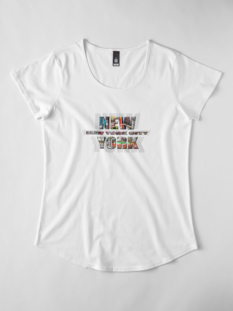Alternate view of NEW YORK CITY (colour photo-filled type on B&W type background) Premium Scoop T-Shirt