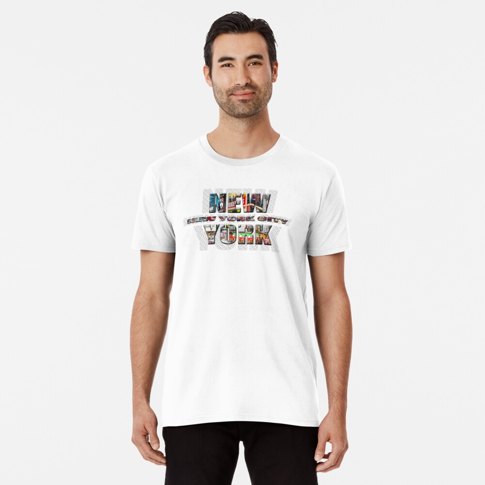 NEW YORK CITY (colour photo-filled type on B&W type background) Premium T-Shirt