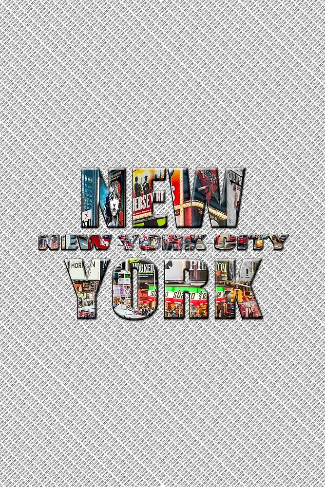 NEW YORK CITY (colour photo-filled type on B&W type background) by Ray Warren