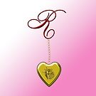 R Golden Heart Locket by Chere Lei