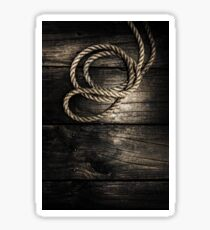 Nautical rope on boat deck. Maritime knots Sticker