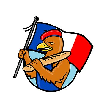 French Eagle Holding Flag and Baguette Cartoon by patrimonio