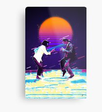 Pulp Fiction Revisited - Urban Neon Vincent Vega and Mia Wallace - The Dance Metal Print